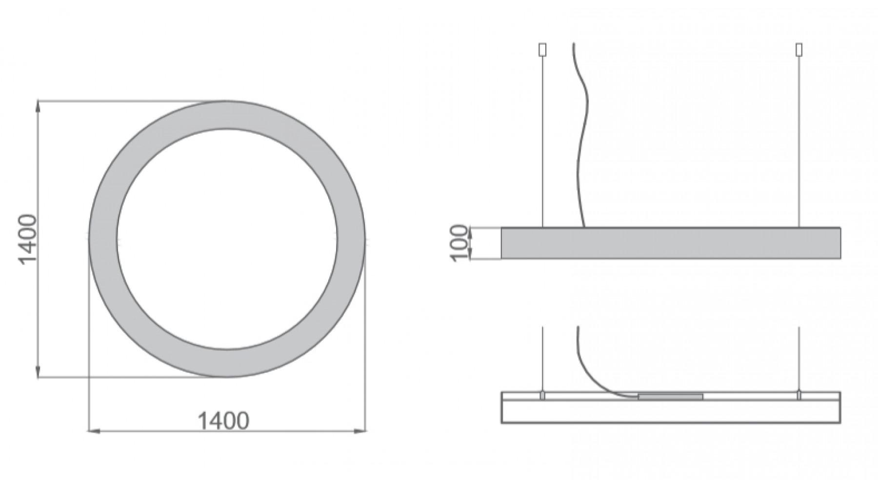 Кольцевой светодиодный светильник SUNRing - d1400х100мм S=80мм, 104Вт, 9460Лм, IP20