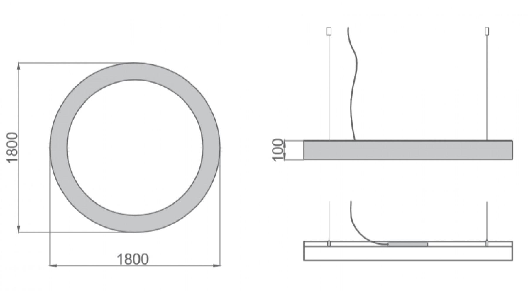 Кольцевой светодиодный светильник SUNRing - d1800х100мм S=80мм, 136Вт, 12370Лм, IP20