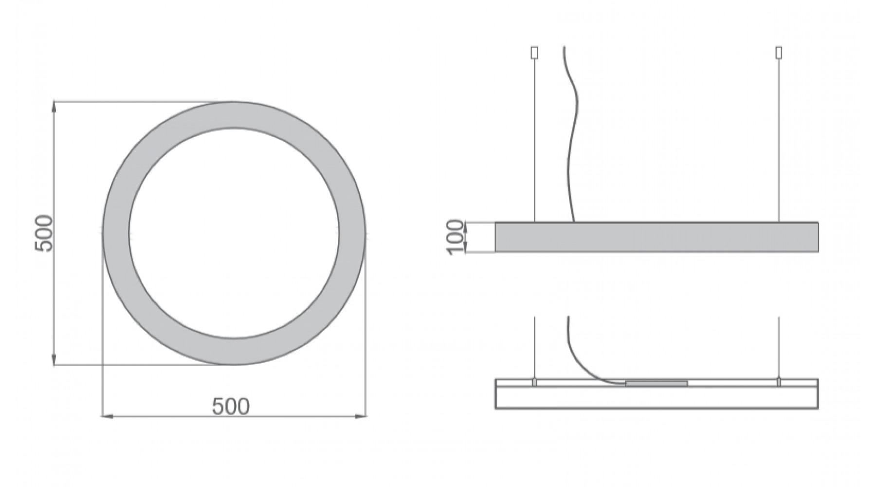 Кольцевой светодиодный светильник SUNRing - d500х100мм S=80мм, 33Вт, 3000Лм, IP20