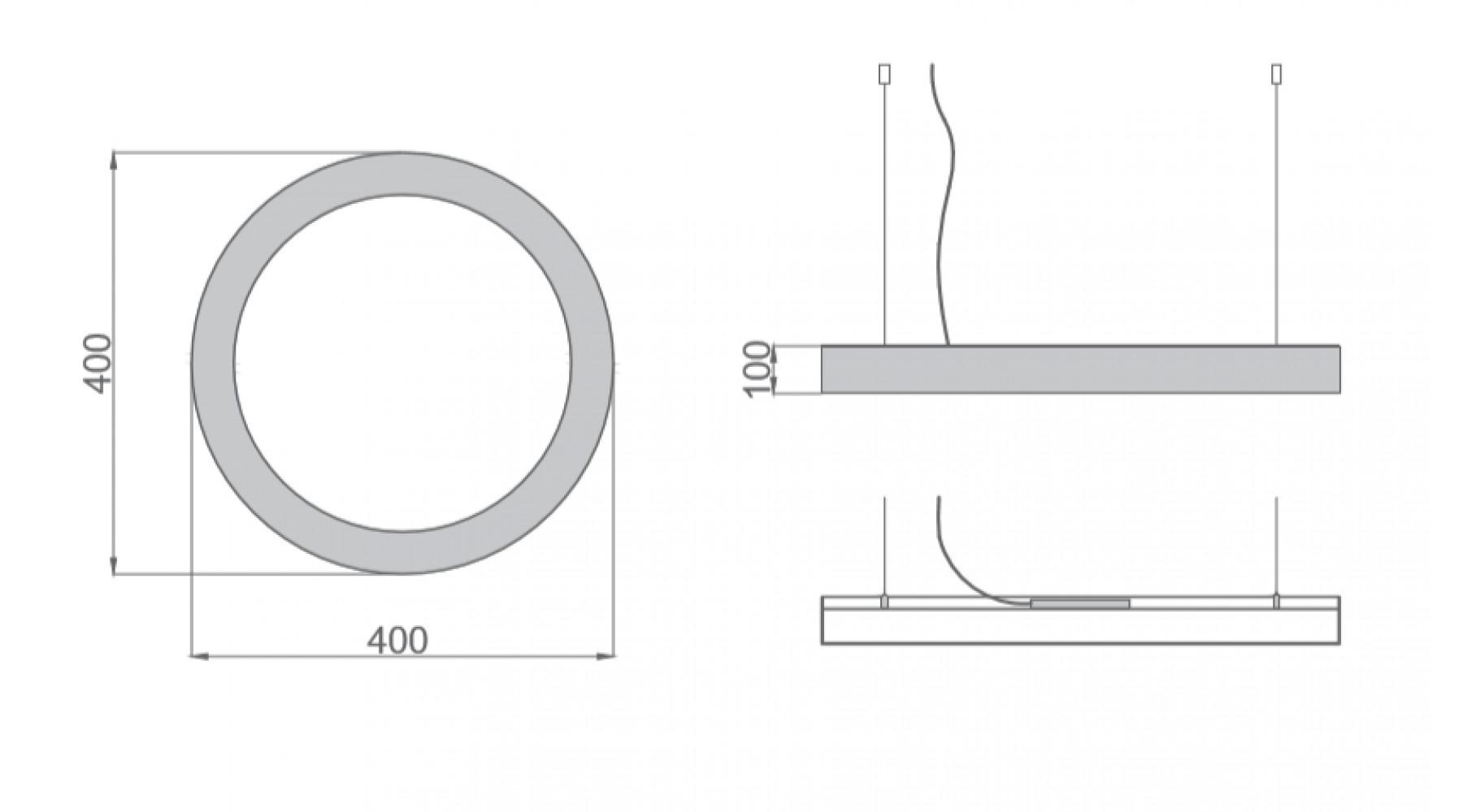 Кольцевой светодиодный светильник SUNRing - d400х100мм S=80мм, 24Вт, 2184Лм, IP20